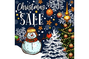 Christmas holiday sale vector promo sketch poster