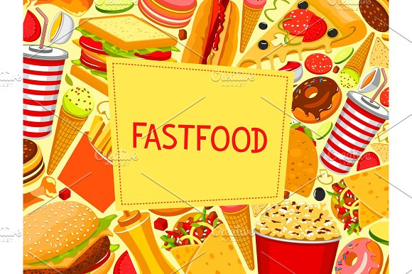 Fast Food Burger And Sandwich Vector Menu Poster