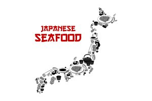 Vector Japanese sushi food restaurant Japan map