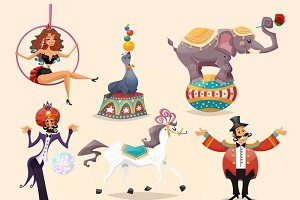Circus performance icons set