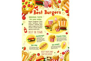 Fast food burgers vector delivery menu poster