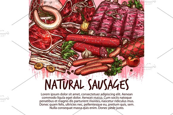 Vector Sketch Sausages And Meat Delicatessen
