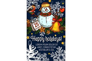 Christmas New Year holidays vector greeting card
