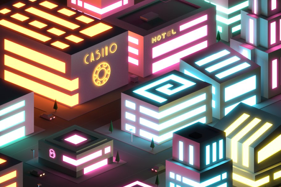 Low Poly Neon City at Night Pack