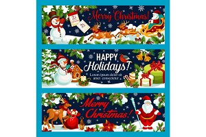 Christmas holiday gifts vector greeting banners