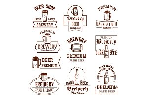Vector icons set for beer brewery pub bar or shop