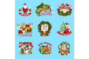 Christmas winter holiday icon for Xmas design