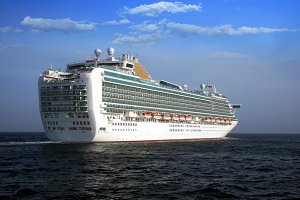 Great cruiseship in open waters.