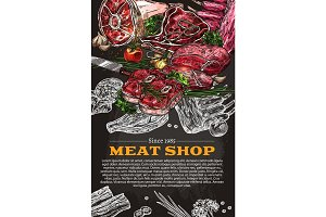 Vector poster of butchery shop meat product sketch