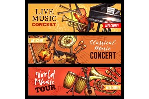 Vector music concert banners sketch instruments