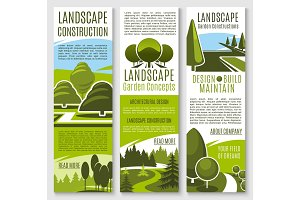 Vector banners for nature landscaping company