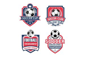 Vector icons for soccer cup or football sport club
