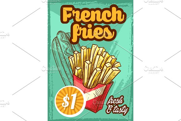 Fast Food Vector French Fries Menu Sketch Poster