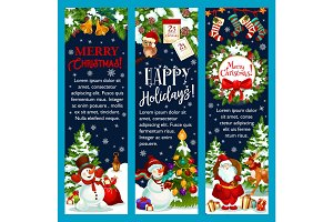 Merry Christmas, Santa gift vector greeting banner