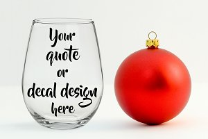 Christmas styled wine glass mockup
