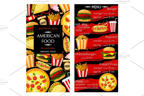 Vector Price Menu For Fast Food Restaurant
