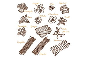 Vector sketch icons of Italian pasta sorts