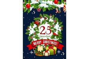Merry Christmas holiday vector gifts greeting card