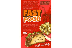 Fast food vector tacos or french fries sketch menu