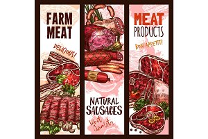 Vector banner sketch butchery shop meat product