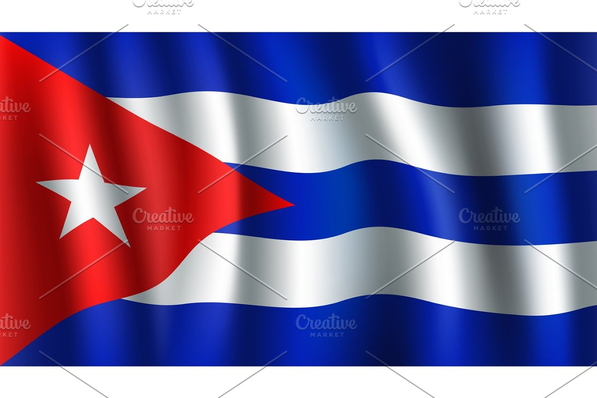 50bd9915cfc1 Vector 3D flag of Cuba. Cuban national symbol ~ Textures ~ Creative ...