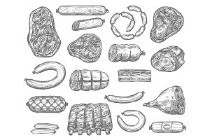 Vector sketch icons of meat products and sausages