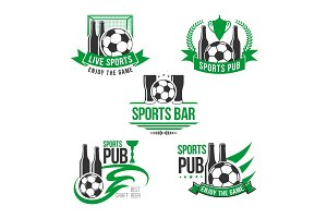 Vector icons for soccer or football sports bar