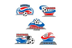 Vector icons soccer or football arena stadium