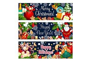 Merry Christmas vector greeting Santa gifts banner