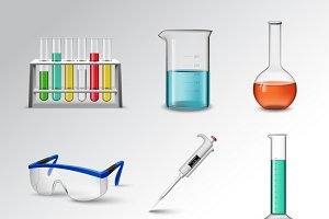 Laboratory glass icons set