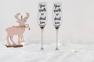 Christmas styled glass mockup