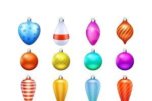 Christmas toys realistic icons set