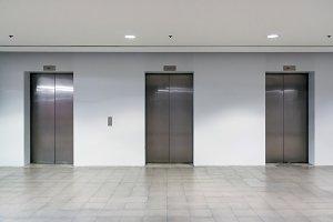 Three elevator doors