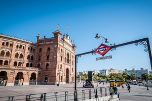 Outdoor view of Bullring of Las Ventas and subway station in Mad