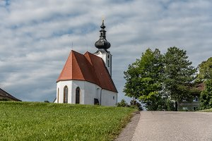 Scenic view of small white church in Austria