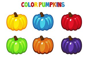 Cartoon vector Color pumpkins