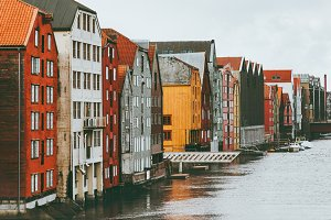Trondheim city colorful houses