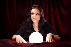 Friendly Fortune Teller With Crystal Ball