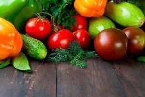 Colored autumn vegetables