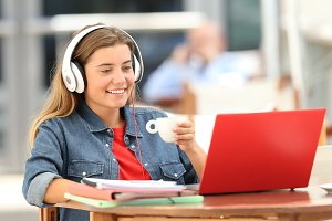 Student watching and listening