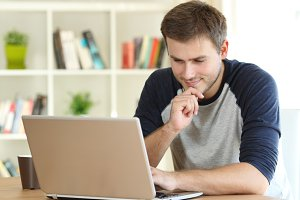 Man finding interesting content