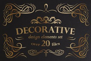 Decorative ornamental elements set