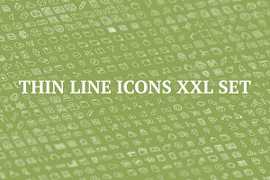 XXL 1400 thin line icons bundle