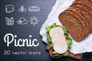 PICNIC - vector line icons
