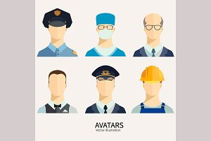 Set of avatar icons.