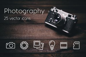 PHOTOGRAPHY - vector line icons