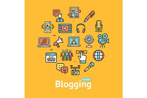 Blogging Color Line Icon