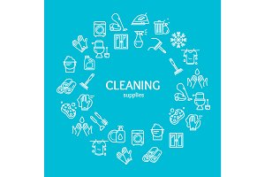 Household and Cleaning Tools Icons