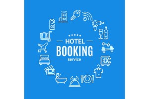Hotel Booking Round Icons