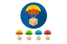 Vector parachutes icons set